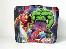 "Marvel Heroes 2010 Metal LunchBox No Thermos 7"" x 8"" x 4"" Ironman Hulk Spidey"