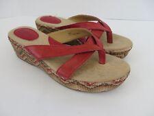 BOC Born Red Wedge Platform Thong Sandals C31105 Women Size 9 US EUR 40.5 #656
