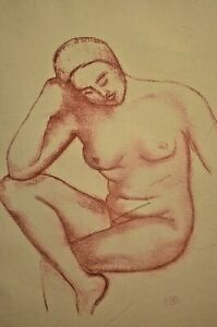 Antique Original Aristide Maillol Red Nude Pose Girl Portrait Drawing Lithograph