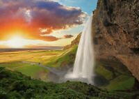 A1   Art Poster Of Seljalandsfoss Waterfall 60 x 90cm 180gsm Sunset Gift#14137