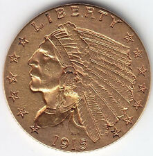 1915 Indian Head Quarter Eagle $2 1/2 Gold Coin