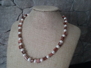 "19"" HANDMADE SILVER PLATED FRESH WATER PEARL & shell NECKLACE"