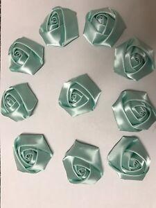 """10 Mint Green Handmade 4d  Satin Rose Flowers 2"""",  Bouquet,Corsage,Wedding,Craft"""