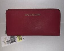Michael Kors Woman's Jet Set Travel RED Wallet Leather- NEW