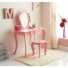 Childrens Pink Wooden Amelia Vanity Set with Stool & Mirror(Girls who love PinK)