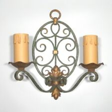 "Vintage French Wrought Iron & Tole Sconce, Hand Forged, ""French Riviera"" Style"