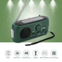 Solar Hand Crank USB Rechargeable AM FM Radio W/ 3-LED Flashlight Phone Charger