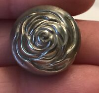 silver tone dome rose flower antique vintage unique metal button #172