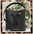 NWT MICHAEL KORS SURI Small MK Logo Bucket Crossbody Bag In BLACK Sig CC Leather