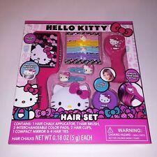 Hello Kitty Hair Set Brush Mirror Chalk Clips Ties Kids Gift Set NEW