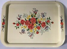 Vintage Metal Serving TV Tray Cream Roses Flowers Floral Design 17 1/2 x 12 3/4