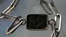 Vintage Sterling Silver Chain Bracelet with Photo Frame