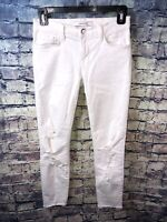 J BRAND Demented Crop White Distressed Jeans Raw Hem Size 25🔥Free Shipping✔️💯