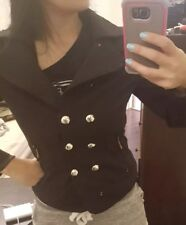 Womens Black Military Fitted Black Coat Jacket S/M