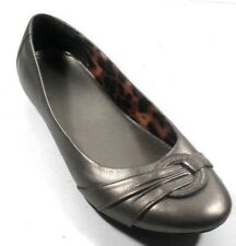 """Clarks """"Poem Queen"""" Pewter Leather Women's Ruched Ballet Flats 7.5N"""