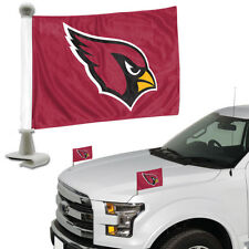 Arizona Cardinals Set of 2 Ambassador Style Car Flags - Trunk, Hood