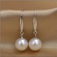 AAAA NEW HOT 10-11MM natural South Sea white pearl earring 14K White Gold