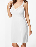 New M&S Floral Lace Full Slip / Nightie V-Neckline Smoothing Anti-static RRP £16
