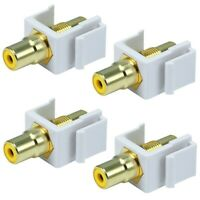 4 Pcs RCA Keystone Jack Audio Video Coupler Insert Snap In Yellow Center White