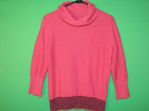Patagonia Womens Size S Small Pink Turtleneck 3/4 Sleeve Sweater