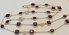Ann Taylor designer necklace rhinestone and bezel bead 40""