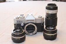 Petri FT EE 35mm film camera w/ 3 Petri Lenses (55mm, 35mm, 135mm) **READ DES.**