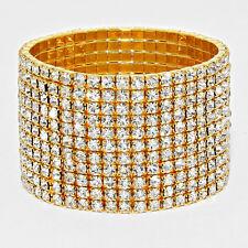Rhinestone Bracelet 11 Row Wide Stretch Bangle Crystal Pave Wedding Bride GOLD