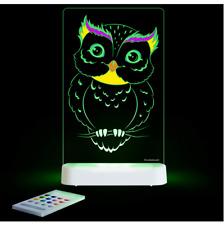 Brand new Aloka colour and shine Owl multi coloured night light & remote