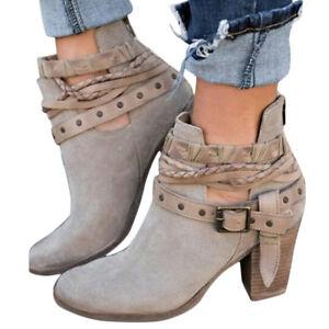 Fashion Women's Boots Slouch Autumn High Heels Shoes Rivet Short Ankle Boots Sz