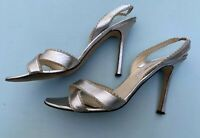Brian Atwood 41 Strappy Silver Shoes Metallic Leather Heels Stiletto Pumps US 11