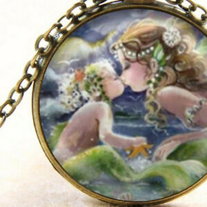 Mystical Ocean Mermaids Mother and Daughter, New Pendant Necklace Gift Jewellery