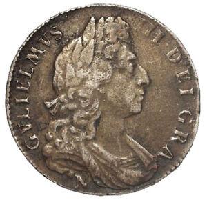 1697 N William III Silver Half Crown Norwich Mint ESC 550 Scarce