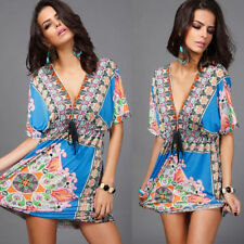 Plus size  XXL V-Neck Sexy Bohemia print Dress Summer's Casual dress D423blue
