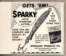 1951 Print Ad Sparky Alive Action Fishing Lures Sparkling Prod. Arlington,MA