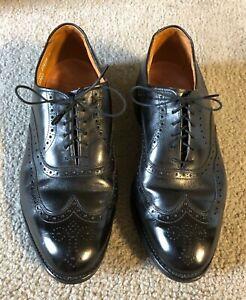 VTG Allen Edmonds Chester Black Leather Wingtip Oxford Shoes - Size 9 1/2 EEE