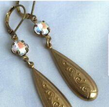 Crystal AB stones with patterned raw brass drop earrings handmade