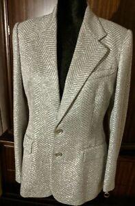 NEW Ralph Lauren Collection Purple Label Wool Blend Metallic Blazer Jacket sz 8