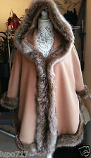 WOMENS CAMEL FLUFFY FAUX FUR HOODED WINTER CAPE COAT PONCHO ONE SIZE NEW
