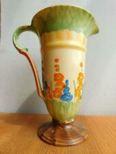 Art Deco MYOTT Pottery English Hand Painted Jug Vase 1920s Flower Garden