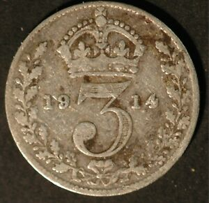 Threepence 1911 to 1919 George V .925 Silver Choose your Dates