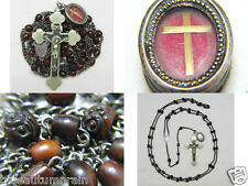 "† SCARCE ANTIQUE NUN'S ""TRUE CROSS"" RELIC THECA BOVINE CARVED ROSARY 34 3/16"" †"