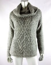 THE LIMITED Black/White Melange Cowl Neck Cable Front Chunky Knit Sweater XS