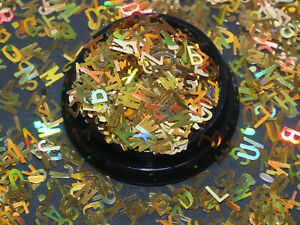 2g Gold Holographic Thin A-Z Alphabet Letters Words Nail Art Sequins Glitter