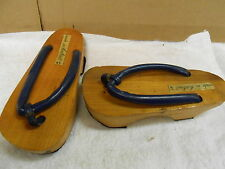 vintage asian Thailand wood platform sandals shoes