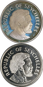 Seychelles 1977 25 Rupees Queen's Silver Jubilee 2 Coin Lot - 1.29oz ASW