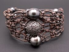 Black Gray Pearl 1ct Round Pave Black Diamond Ball Rondelle Leather Bracelet