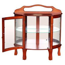 Elegant Hardwood Curio Cabinet Half Round Antique Glass Display Shelves Lighted