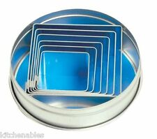 Fox Run Square Cookie Cutter Set Of 6 Cutters W/ Storage Tin - Pastry Dough Cake