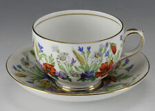 Crown Staffordshire Flora Footed Tea Cup and Saucer - Floral design gold trim