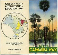 0143 Golden Gate Exposition 1939 Worlds Fair Brazil Carnauba flier San Francisco